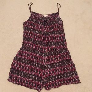 Burgundy and brown romper with pockets